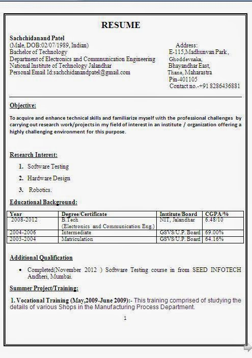resume format for electronics and communication engineering students