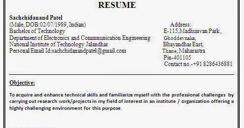 Resume for electronics and communication