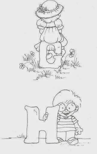 desenho de alfabeto das crianças G e H