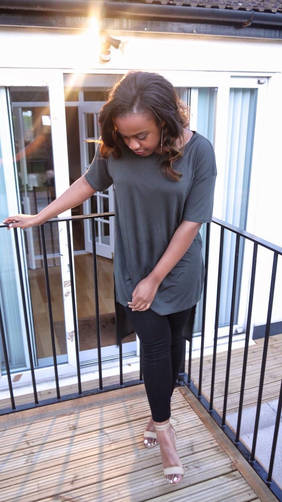 hm long khaki t-shirt hm leggings forever 21 kim kardashian nude barely there heels