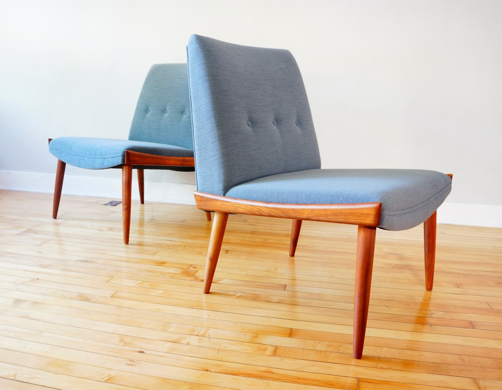 This One Is For The Minimalist, A 1960s Pair Of Slipper Lounge Chairs.  These Were Completely Refinished And Reupholstered By The Midwestu0027s Premier  ...