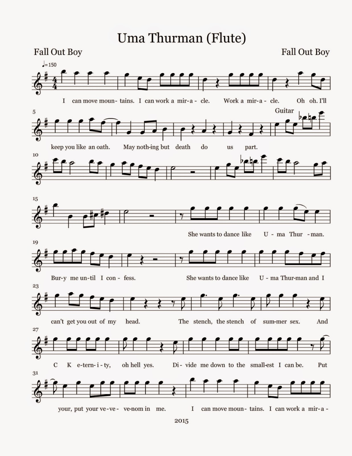 Flute Sheet Music: Uma Thurman - Sheet Music