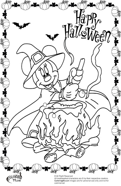 Mickey and minnie mouse halloween coloring pages for Minnie mouse halloween coloring pages
