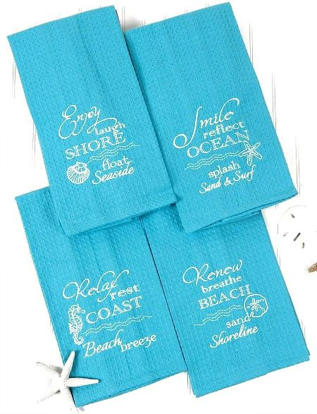 Beach Coastal Blue Embroidered Quote Kitchen Towels