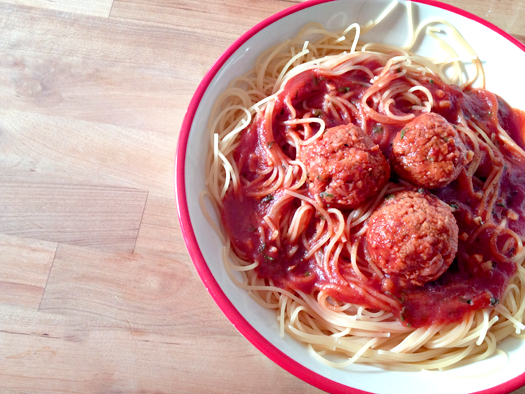 ... Brilliant: spaghetti with chickpea meatballs and sweet tomato sauce