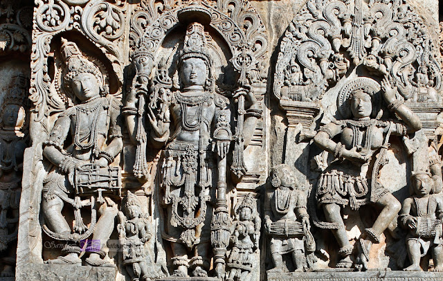 On the left is the Dancer with tabla, at the center must be the image of Vishnu, and on the right is a Shilabalike or the dancing madanika