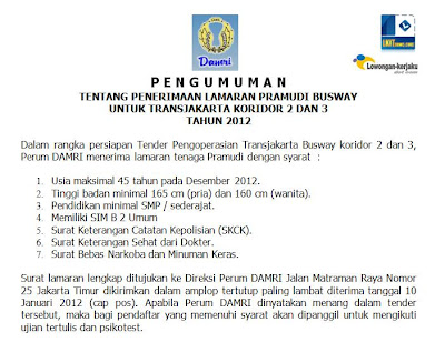 Perum Damri Recruitment