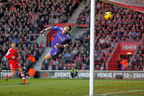 Manchester City goalkeeper Costel Pantilimon fails to save a goal from Southampton's Dani Osvaldo