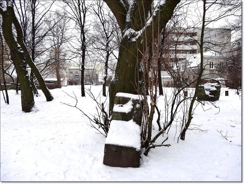 Szczątki oryginalnego cokołu Pomnika Lotnika w parku Leśnika