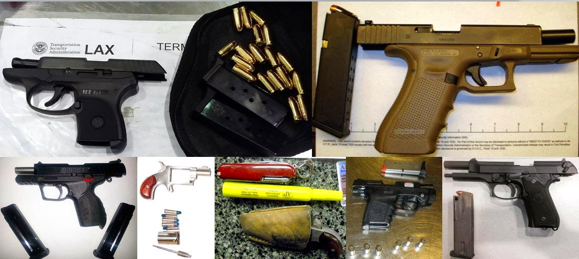 Guns Discovered at (Left - Right / Top to Bottom) LAX, SAT, TYS, MOB, PHX, MIA, DHN