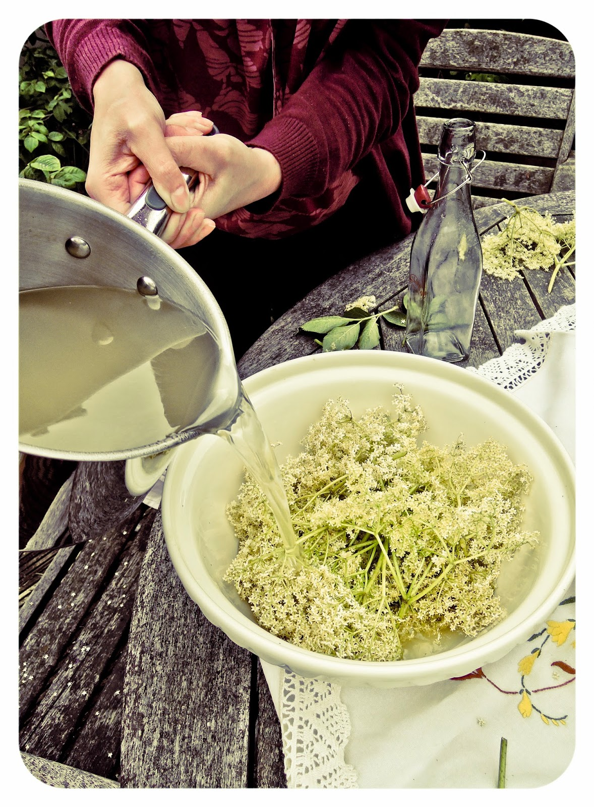 Making Elderflower cordial