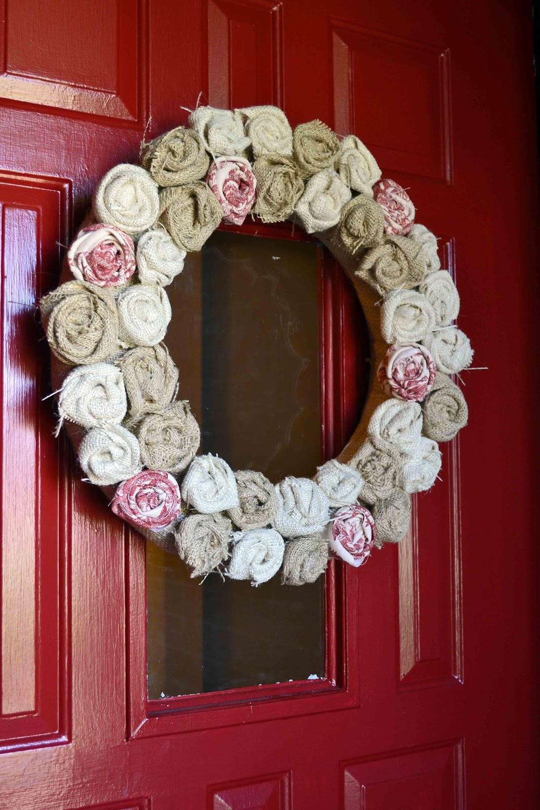 Pocket full of pink diy burlap rosette wreath