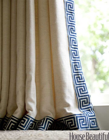 Curtains Ideas chinoiserie curtains : Chinoiserie Chic: Navy Greek Key Trim - High/Low