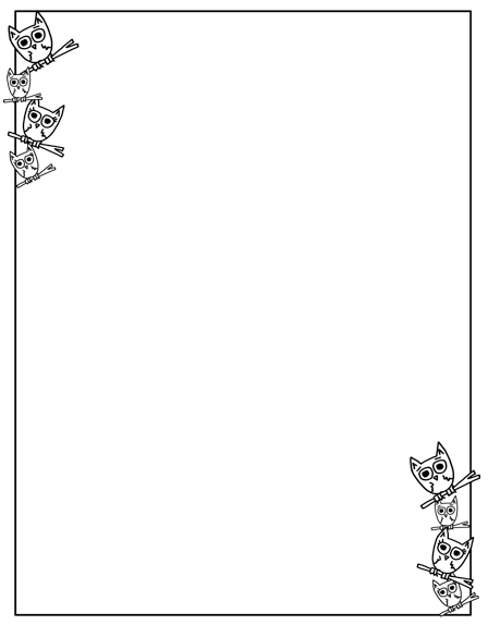 Click here to get your black and white freebie owl border