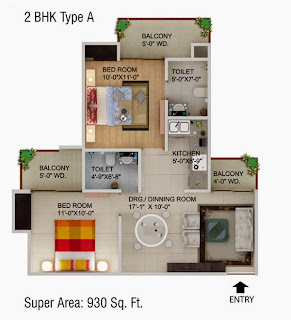 Cape Town :: Floor Plans,2 BHK Type A Super Area - 930 Sq Ft