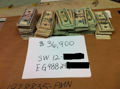 Nearly $40,000 in cash was seized from the U.S. Mail.