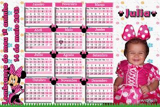 Calendário da Minnie Rosa
