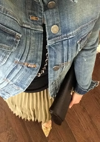 Pleated Olive Skirt, Banana Republic, J.Crew Jean Jacket, Sale