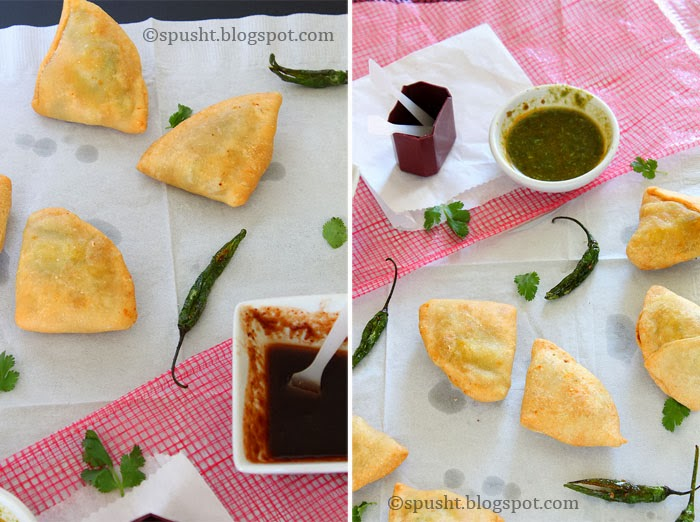 Spusht | easy cocktail samosa recipe with potatoes and peas filling