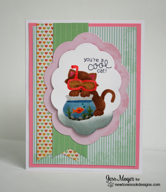 Cool Cat card by Jess Moyer using Newton's Summer Vacation Cat Stamp set by Newton's Nook Designs