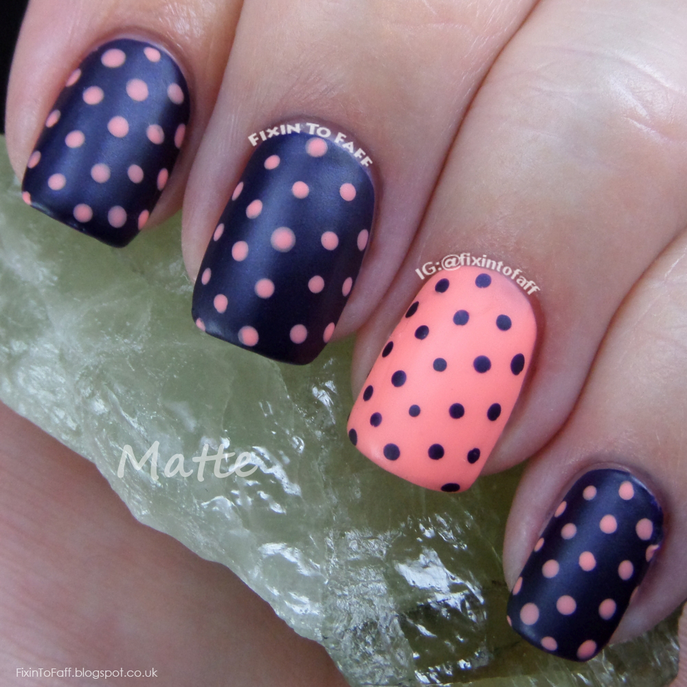Matte pastel coral and dark navy blue polka dot nail art, recreation of a look from BeHappyAndBuyPolish.