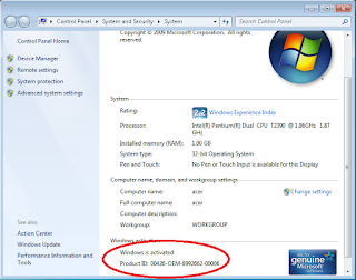 Windows 7 terlihat Genuine/Asli