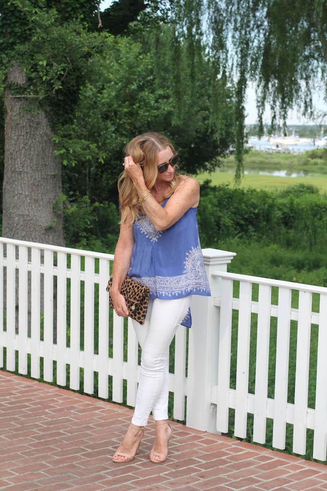 anthropologie top, old navy jeans, clare v clutch, steve madden heels, elizabeth & james sunglasses