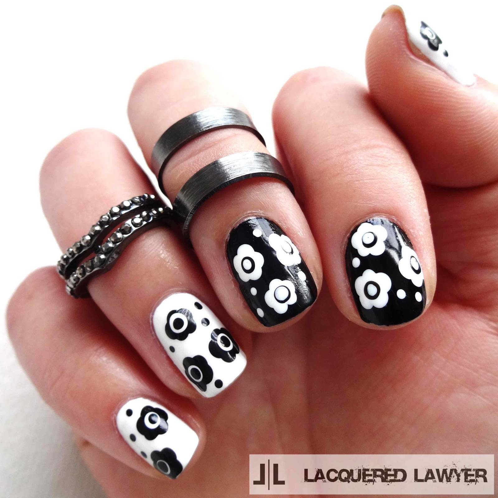 Black and White Flower Nail Art