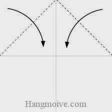 Bước 2: Gấp chéo hai góc trên tờ giấy vào trong.