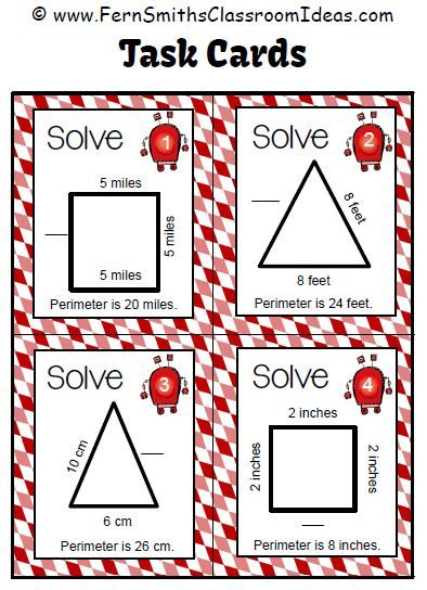 Fern Smith's FREE Perimeter Penny Four Sample Task Cards at Classroom Freebies
