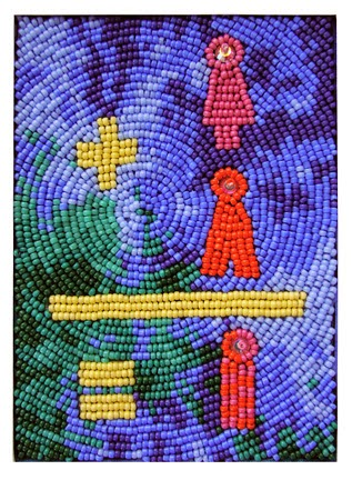 bead embroidery by Robin Atkins, Message to All People, Jan 2014