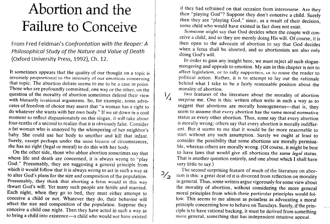 is abortion considered the taking of human life philosophy essay Essay: abortion – prolife view when abortion occurs spontaneously, it is called a miscarriage playing god by intervening in human life transforms us into.