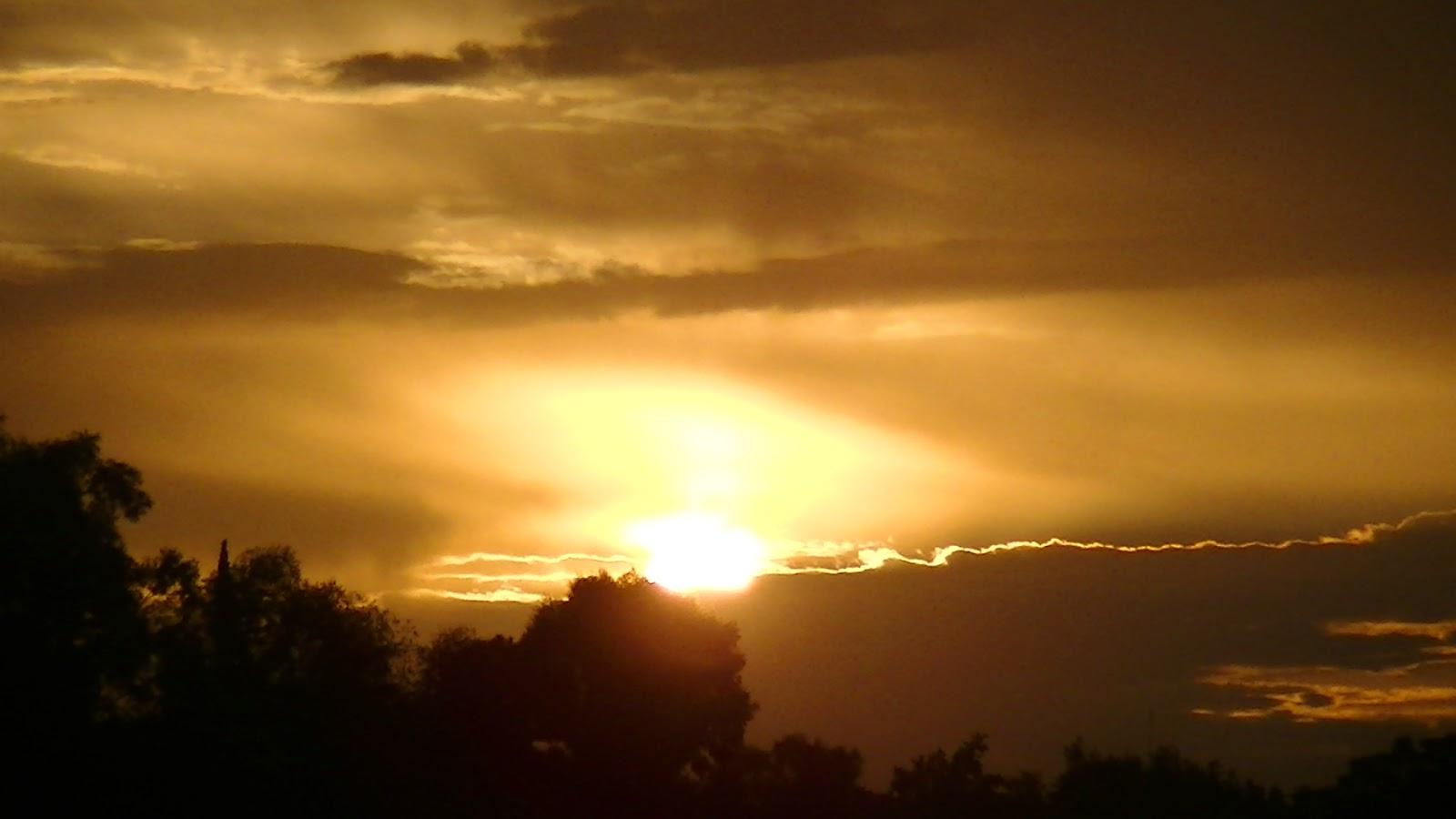 sol nubes tarde arboles
