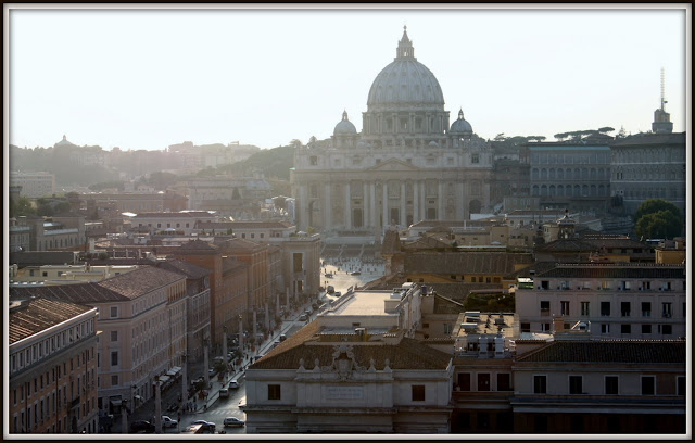 Saint Peter's Square and the basilica were taken in the afternoon from The Castel Sant' Angelo in Rome, Italy