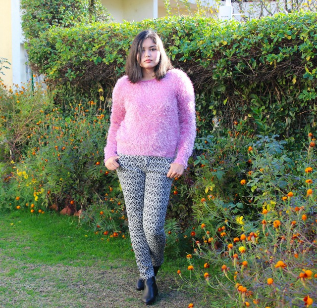 Fluffy Pink Jumper and Baroque Pants