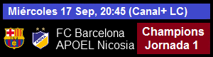 FC Barcelona vs Apoel Nicosia - UEFA Champions League Jornada 1