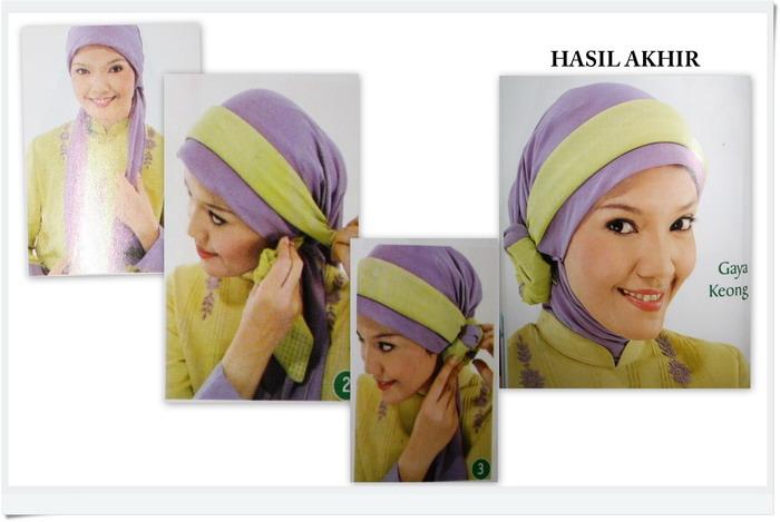 Langkah - langkah mengenakan jilbab gaya keong :