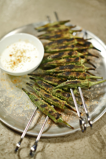 Berbere-Spiced Grilled Okra With Ricotta
