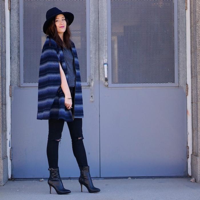 blue tobi cape coat