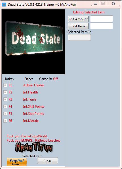 Dead State V0.8.1.4218 Trainer +6 MrAntiFun