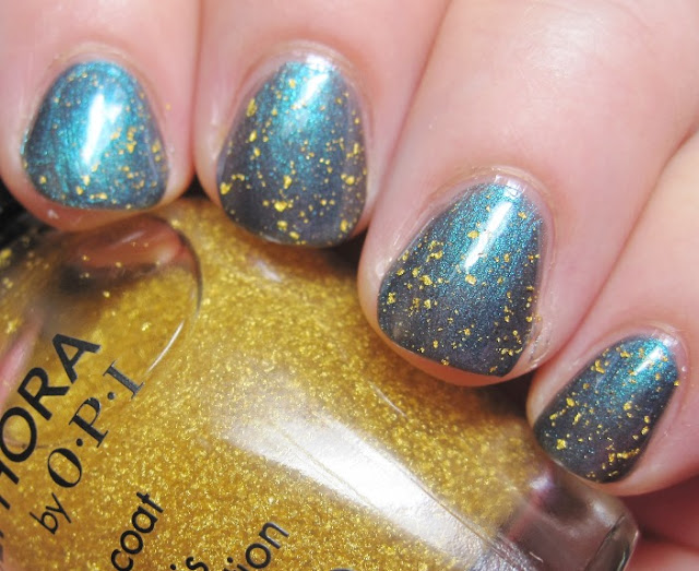 Sally Hansen Black and Blue with SOPI 18k gold topcoat