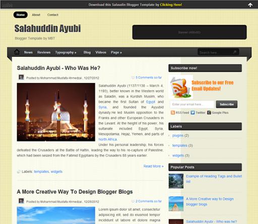 تحميل اجمل اروع قوالب بلوجر Salahuddin Ayubi blogger template.png