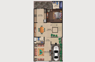 Czar Villas  :: Floor Plans,Type A:-Ground Floor1 Bedroom, 1 Living Room, 2 Toilet, Kitchen, Dining, Court Yard, Car Parking Area - 120 Sq. Yds. (1890 Sq. Ft.)