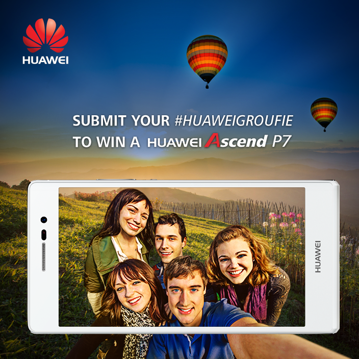 Submit your #HuaweiGroufie from 11 June to 24 June to win a Huawei Ascend P7!!