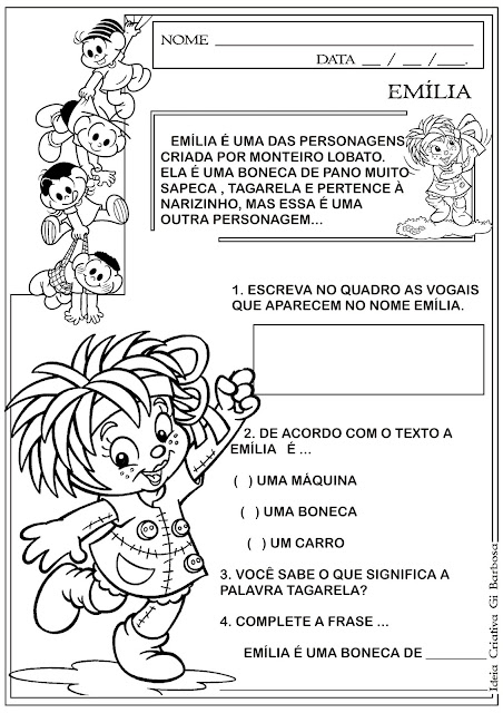 Atividade Dia do Livro Infantil Emília