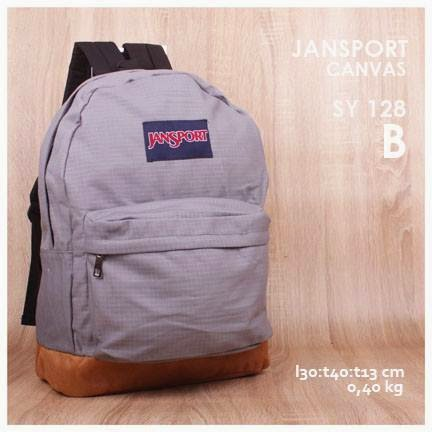 jual online tas jansport backpack kanvas polos kw super murah  warna abu