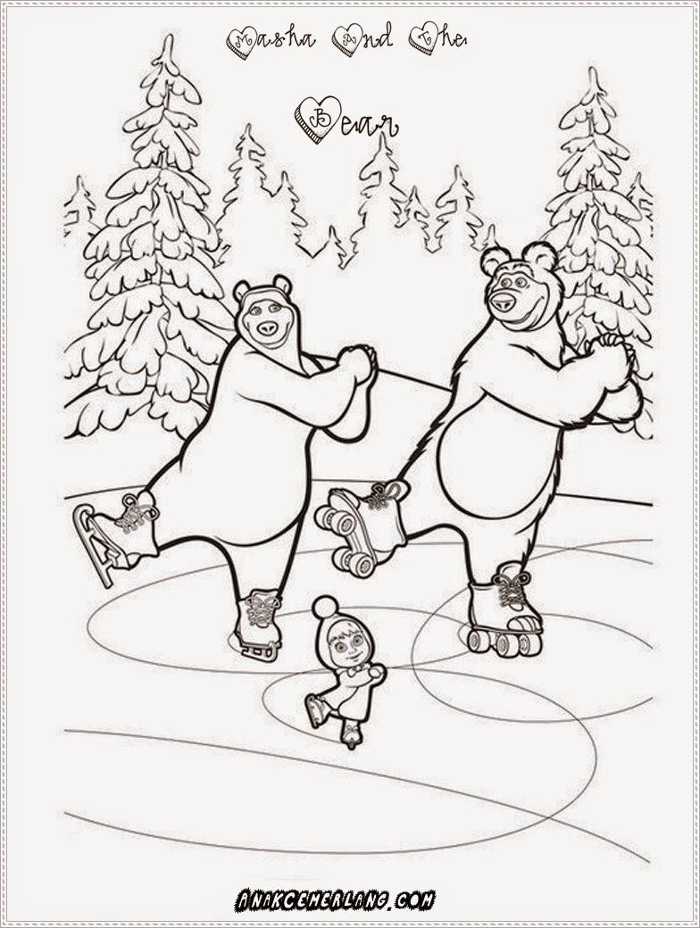 gambar mewarnai masha dan beruang menari