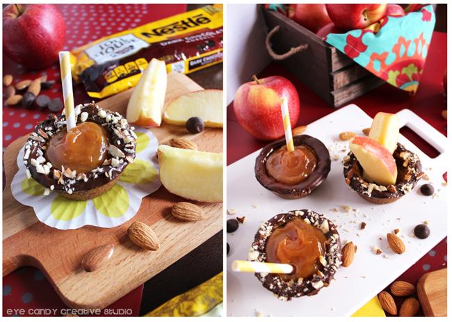 caramel dip for apples, sliced apples, almonds, nestle toll house