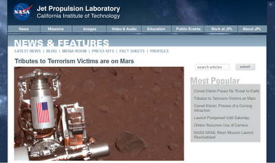 Tribute to 9/11 Terrorism Victims On Mars