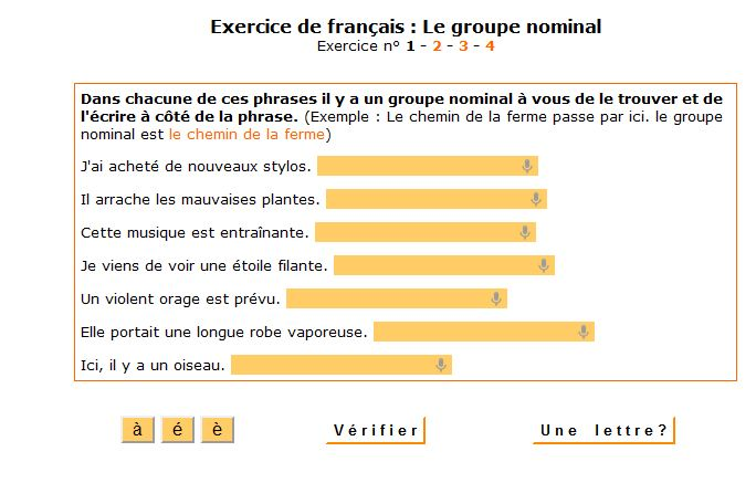 3. Exercices sur le groupe nominal